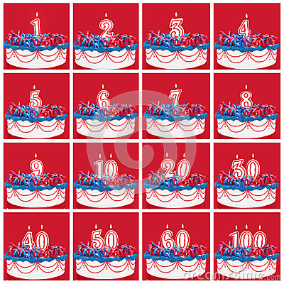 Colección de velas del número del cumpleaños