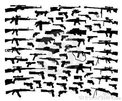 Colección del vector de siluetas del arma