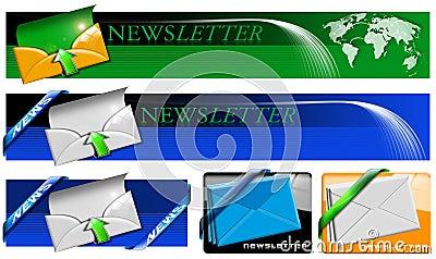 Colección de la bandera del Web del boletín de noticias