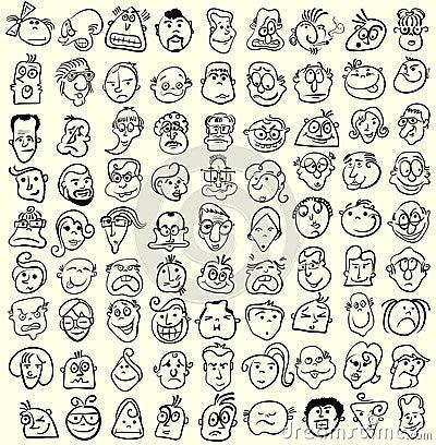 Colección de la historieta de la caricatura de la cara.