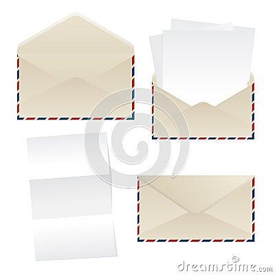 Hojas del sobre y del papel