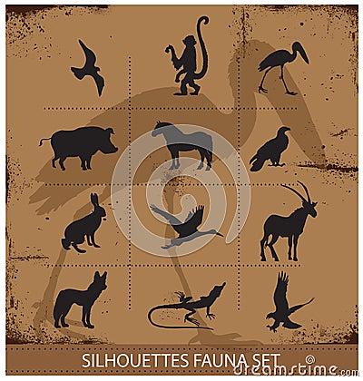 Coleção ajustada da silhueta dos símbolos da fauna do safari