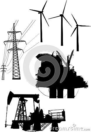 Coleção dos elementos da geração da energia