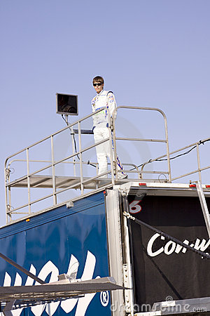Colin Braun Standing on Race Trailer Editorial Photography