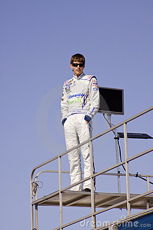 Colin Braun Standing on Race Trailer Editorial Stock Image