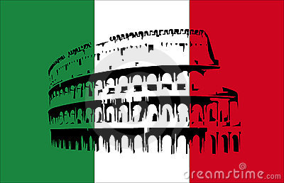 Coliseum and flag of Italy