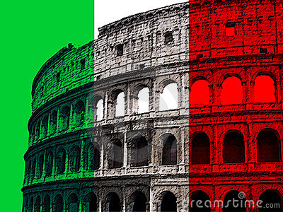 Coliseum on Italian flag