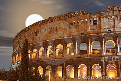 Coliseum Night Moon (Colosseo - Rome - Italy)