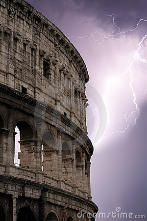 Coliseum during the storm