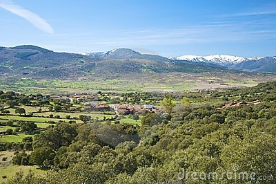 Collado village at gredos mountains