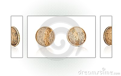 Collage of a 10 euro cent coin