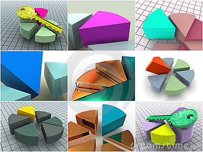 Collage from 9 three-dimensional diagrams. icons.
