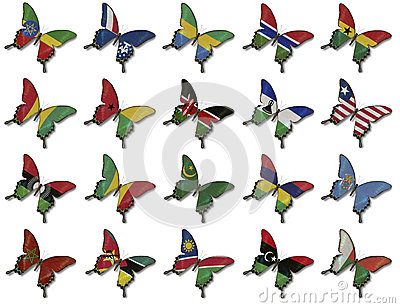 Collage from African flags on butterflies