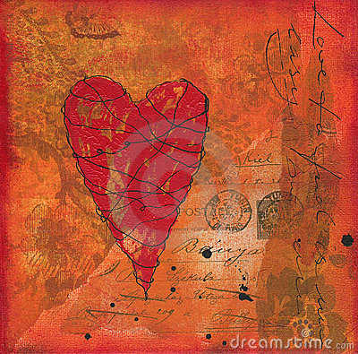 Collage artwork with heart