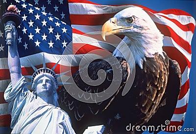 Collage av amerikanska symboler Redaktionell Arkivbild
