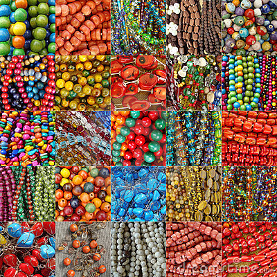 Collage with beads collections