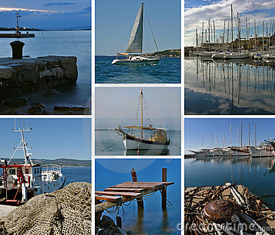 Collage-Boats at Adriatic sea