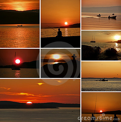 Collage- boats and people in sunset