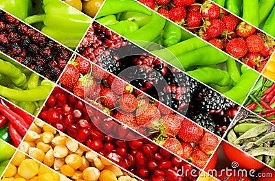 Collage bär fruktt många grönsaker