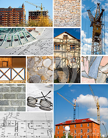 Collage of a building designing and construction