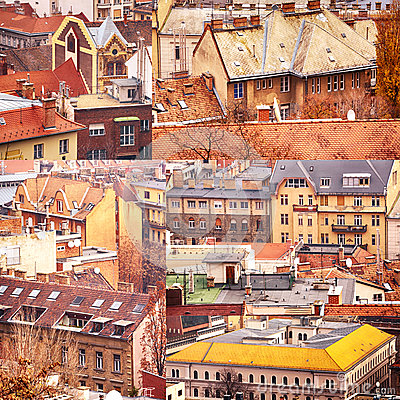 Collage of buildings from Budapest