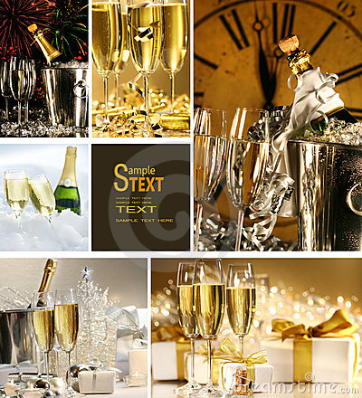 Collage of champagne images