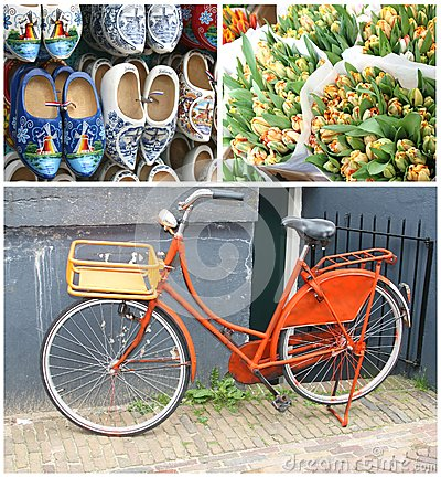 Free Collage Characteristic Dutch Retro Bike & Souvenirs,Amsterdam,Netherlands Stock Images - 33365554