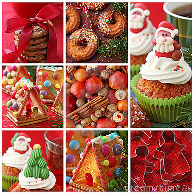 Free Collage Christmas Cakes Royalty Free Stock Images - 20927009