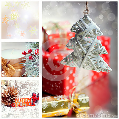 Collage with Christmas tree and decorations