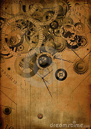 Collage of clocks on vintage background