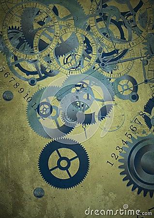 Collage of clocks on vintage background