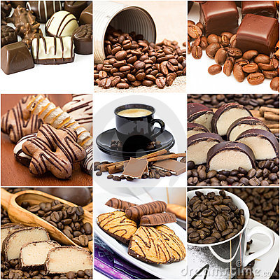 Collage with coffee, chocolate and cookies