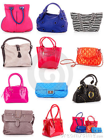 Collage of colorful bags.