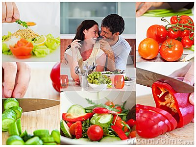 Collage of couple eating healthy salad