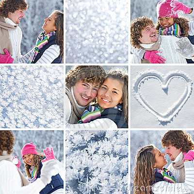 Collage of couple in wintertime