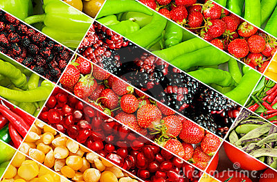 Collage de beaucoup de fruits et légumes