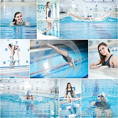 Collage de la nataci n de la mujer en la piscina interior - Business plan piscina ...