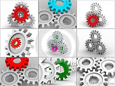 Collage de los engranajes. iconos.