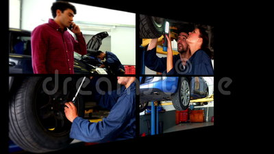 Collage del mecánico de coche almacen de metraje de vídeo