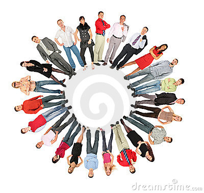 Collage del modulo del sole del cerchio della gente della folla