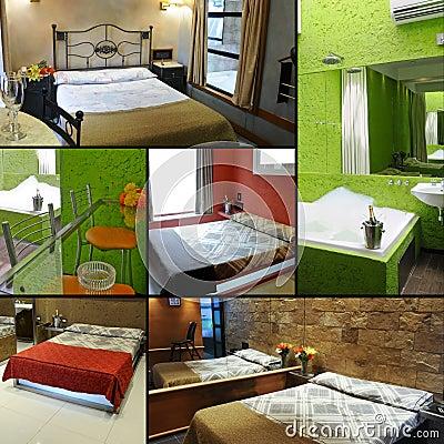 Collage della camera di albergo
