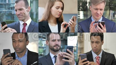 Collage di Business People con Smartphone stock footage