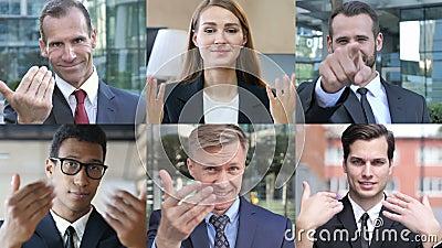 Collage di uomini d'affari con gesto manuale