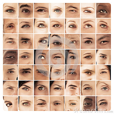Collage of different pictures of various eyes
