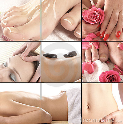 Collage of different spa treatment images