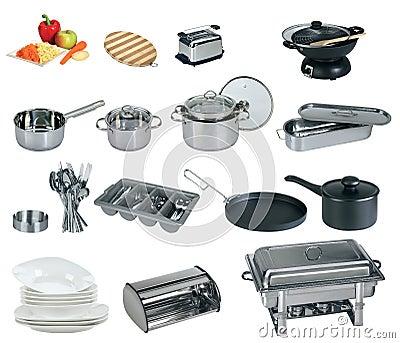 Collage of dishware, utensil, pans