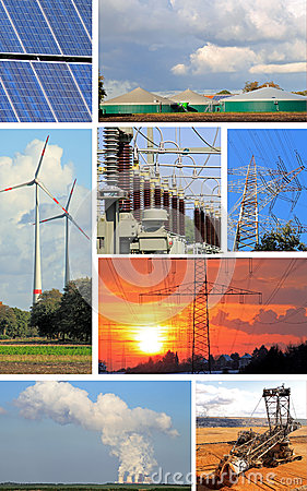 Collage electrical energy, power plant and power plant types