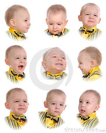 Collage. Emotions of little boy
