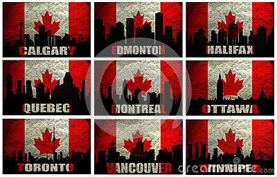 Collage of famous Canadian cities