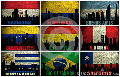 Collage of famous South America cities
